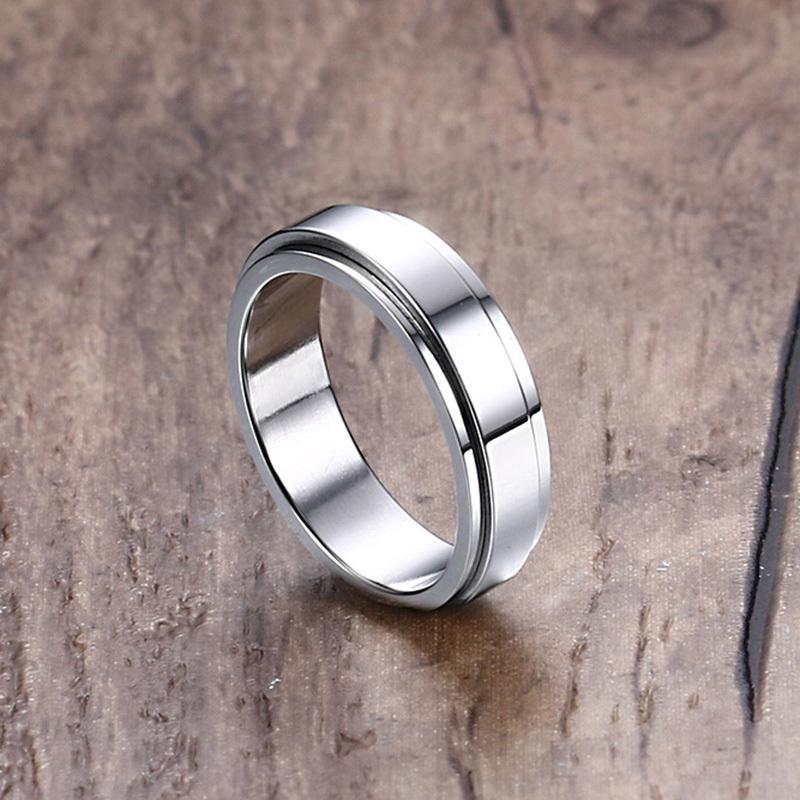 VNOX 6mm Spinner Ring Men Women Jewelry Stainless Steel Double Loop Design Biker Rotatable Lucky Unisex