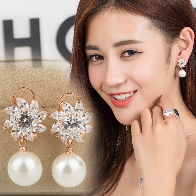 Perak 925 Batu mata kucing anting-anting perempuan Elegan Korea Selatan model panjang mutiara Anting