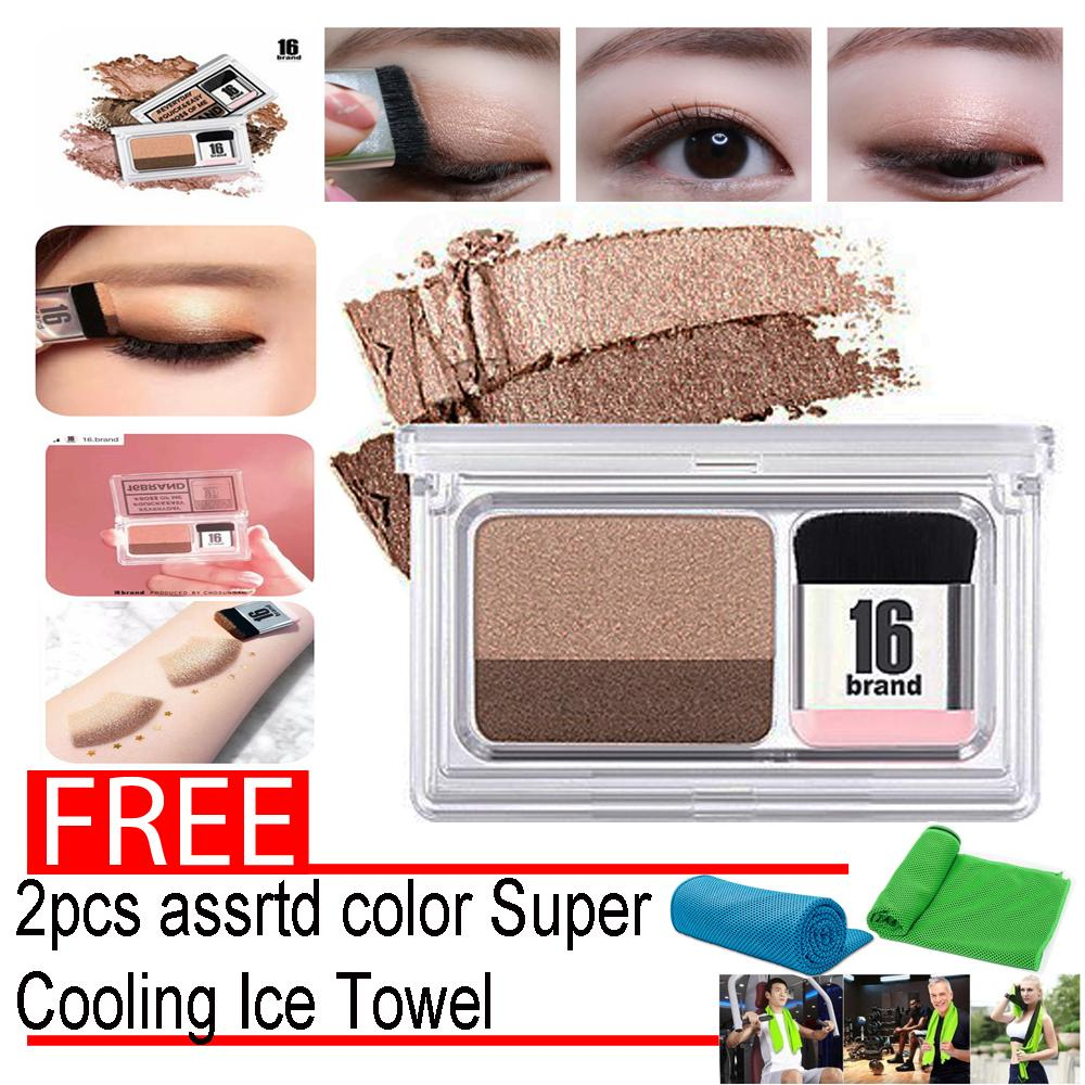 Eye Shadow Kit 16 BRAND Eye Magazine Eye Shadow Quick and Easy Eyeshadow Kit with Brush2.5g with free 2pcs assrtd color Super Cooling Ice Towel Philippines