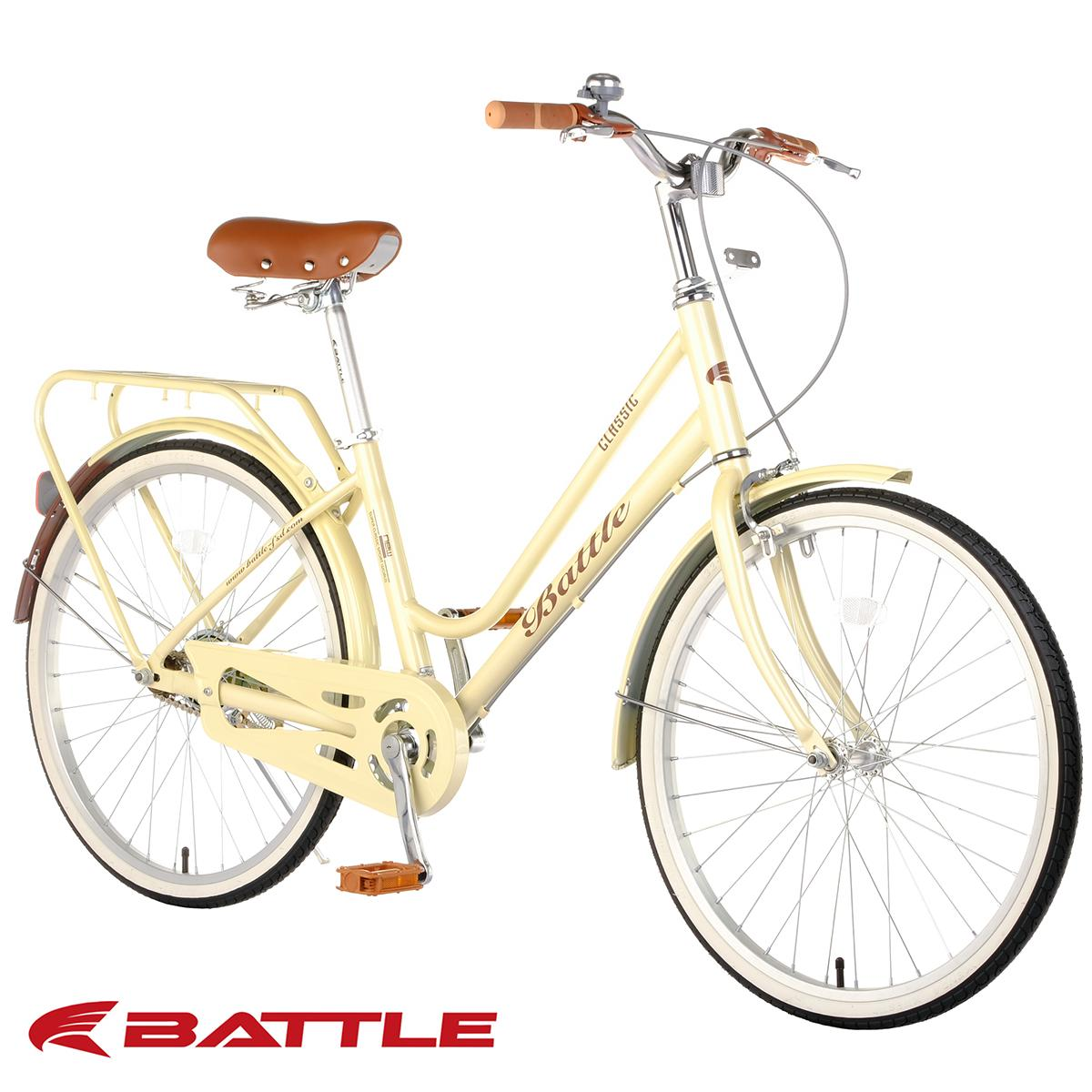 """Battle Classic 24"""" Alloy City Cruiser Bike (Gloss Pearlized Cream)"""