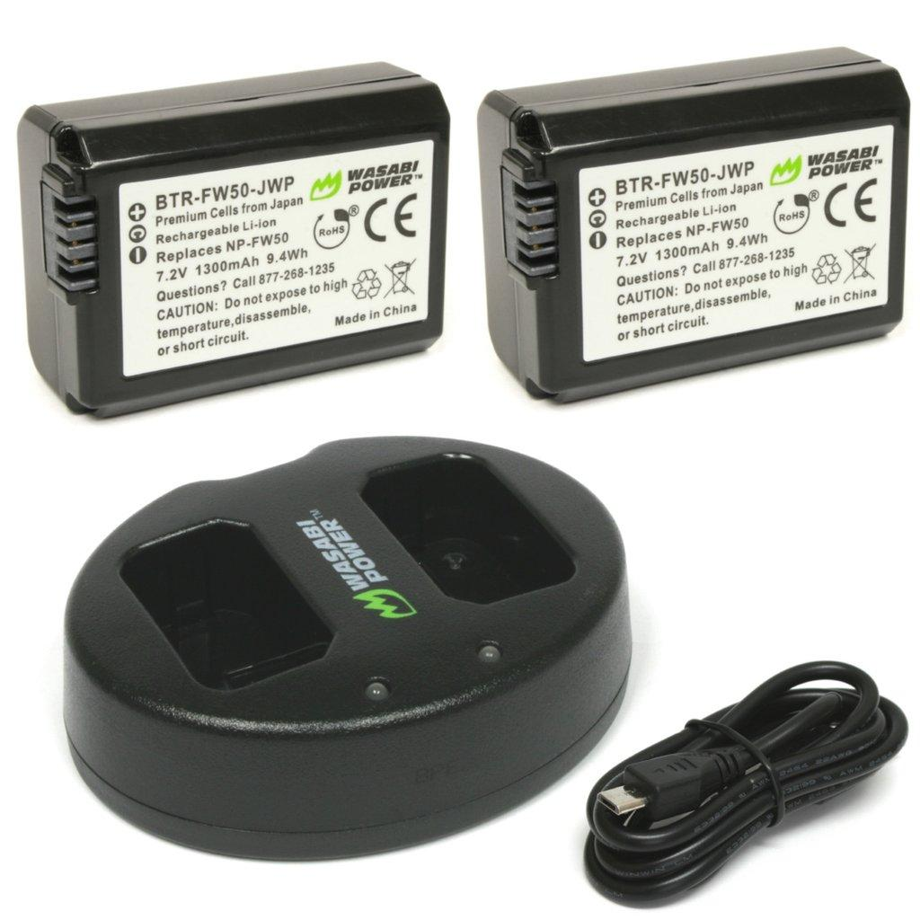 Batteries replace: Sony NP-FW50 Battery capacity: 1300mAh. Charger replaces: Sony BC-VW1, BC-TRW
