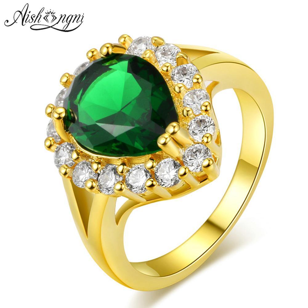 Mewah Cincin Kristal Hadiah Perhiasan Cincin Emas Pertunangan Pernikahan Mempelai Perempuan Cincin Jantung untuk Wanita