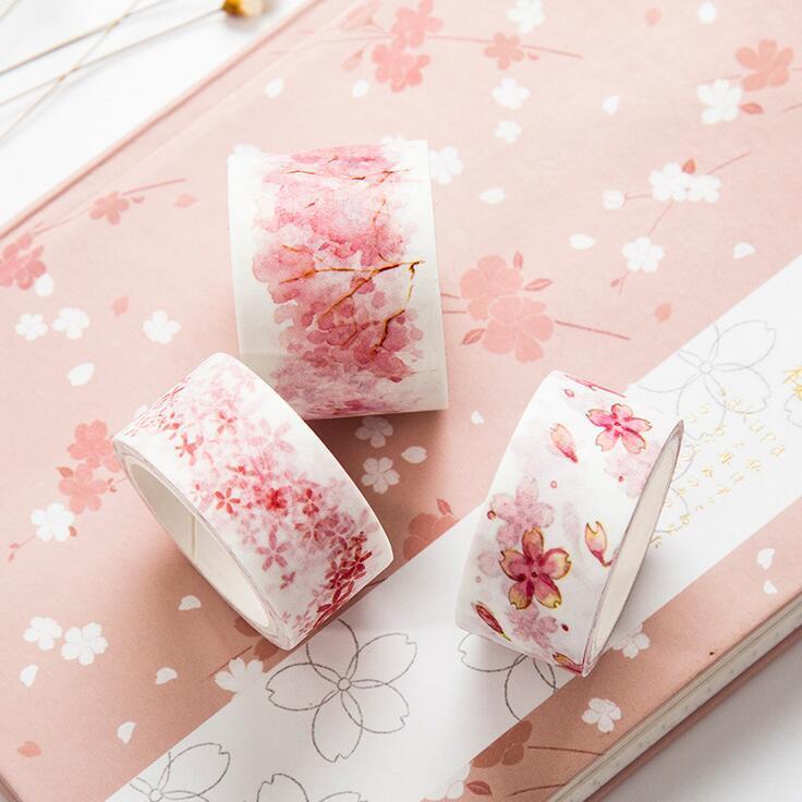 Mua 3rolls Watercolor Sakura Washi Tape Adhesive Tape DIY Scrapbooking Sticker Label Masking Craft Tape - intl