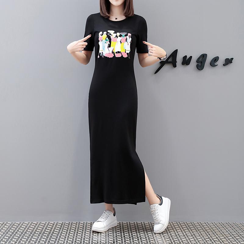 Mùa Hè Big Size Quần Áo Nữ Chất Béo Mm Phiên Bản Hàn Quốc Thông Dụng In Hoa Tay Ngắn Đầm Tôn Dáng 100% Cô-tông Dáng Dài Qua Đầu Gối Váy T-Shirt