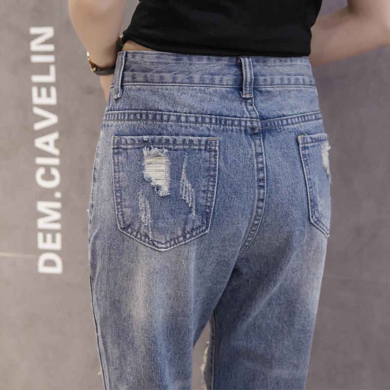 Celana jeans sobek wanita Musim Semi dan Musim Gugur 2018 model baru murid .
