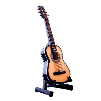 1:12 Mini Acoustic Guitar Wooden Miniature Musical Dollhouse With Case New - intl