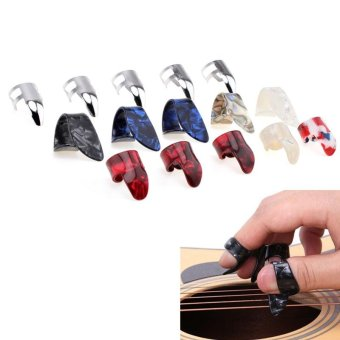15pcs/set Stretchy Celluloid & Steel Nail Plectrums Guitar Thumb Finger Picks for Guitar Lovers - Multicolors Random - intl