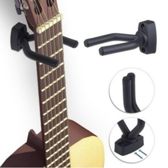 2-PACK Guitar Bass Violin Erhu Hanger Hook Holder Wall Mount Hanger Holder(Black) - intl