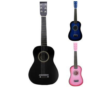 23 Inch Black Basswood Acoustic Guitar With Guitar Pick Wire Strings - intl