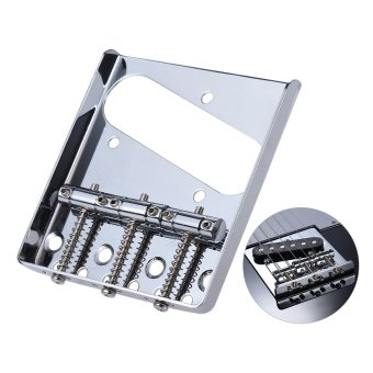 3 Saddle Ashtray Bridge Tailpiece Chrome Plated for Telecaster TeleElectric Guitar Replacement Part with Screws Wrench - intl