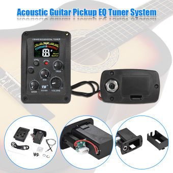 4-Band Acoustic Guitar EQ Equalizer Preamp Piezo Pickup System with LCD Dispaly Digital Tuner - intl