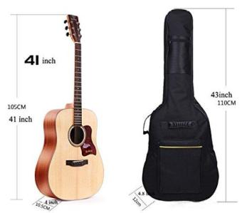 41 Inch Dual Adjustable Shoulder Strap Acoustic Guitar Gig Bag - Black - intl