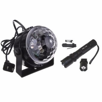 5W RGB Crystal Magic Ball Effect Stage Light Voice Control Party Disco Club With Rechargeable Police Flashlight with Stun Gun Taser (Black)