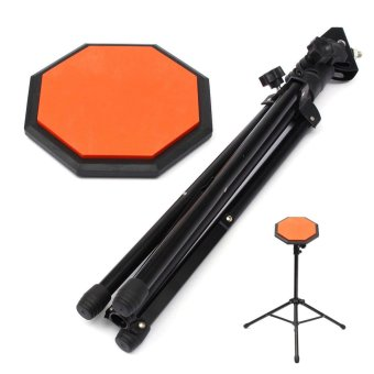 8'' Rubber Dumb Drum Practice Pads Stand & Adjustable Drum Sticks Set Musical