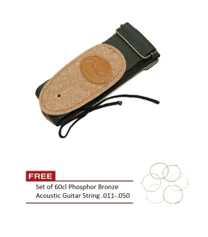 Acoustic Electric Guitar Strap Nylon Embroidery Adjustable Leather Ends (Military Green)