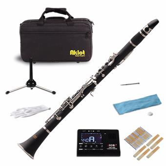 Aklot Bb Clarinet Bakelite Body 17 Brass Nickel Plated Keys withCase Tuner Stand Reeds - intl