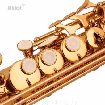 Aklot Bb Soprano Saxophone Sax Gold Lacquered Brass Body with Tunerand Reeds - intl - 4