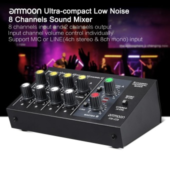 ammoon AM-228 Ultra-compact Low Noise 8 Channels Metal Mono StereoAudio Sound Mixer with Power Adapter Cable - intl - 4