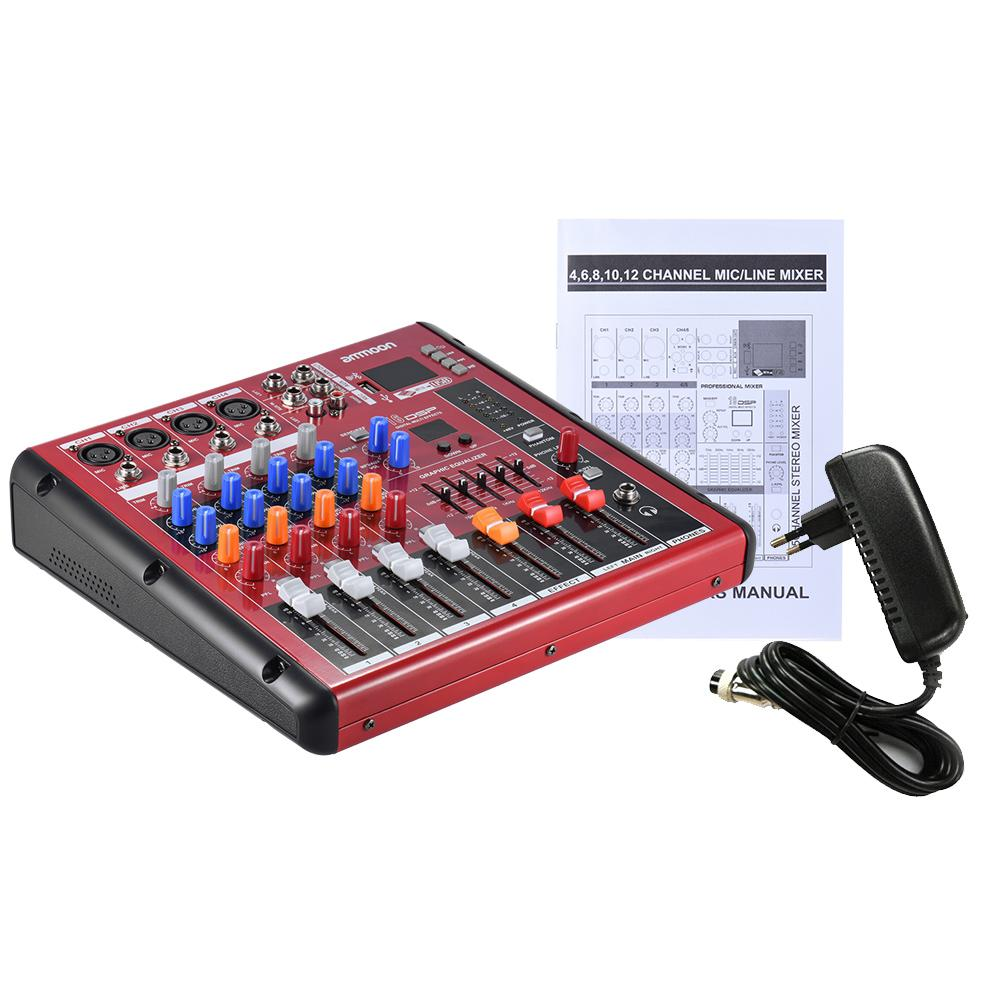 Philippines Ammoon Digital Bluetooth 4 Channel Mic Line Audio Stereo Mixer For Microphone With 2 Channels Mixing Console Band Eq