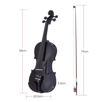 ammoon Full Size 4/4 Acoustic Electric Violin Fiddle Solid WoodBody Ebony Fingerboard Pegs Chin Rest Tailpiece with Bow Hard CaseTuner Shoulder Rest Rosin Extra Strings & Bridge Black Color -intl - 3
