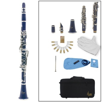Clarinet ABS 17 Key bB Flat Soprano Binocular Clarinet with Cork Grease Cleaning Cloth Gloves 10 Reeds Screwdriver Reed Case Woodwind Instrument Outdoorfree - intl