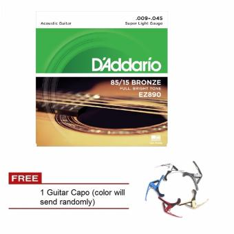 D'Addario EZ890 85/15 Bronze .009-.045 Acoustic Guitar String withGuitar Capo