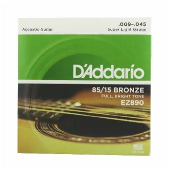 D'addario EZ890 Acoustic Guitar Strings Set Super Light Gauge.09/.045