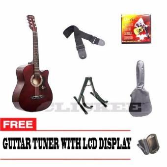 Davis Acoustic Guitar Package with FREE Guitar Tuner (Maroon)