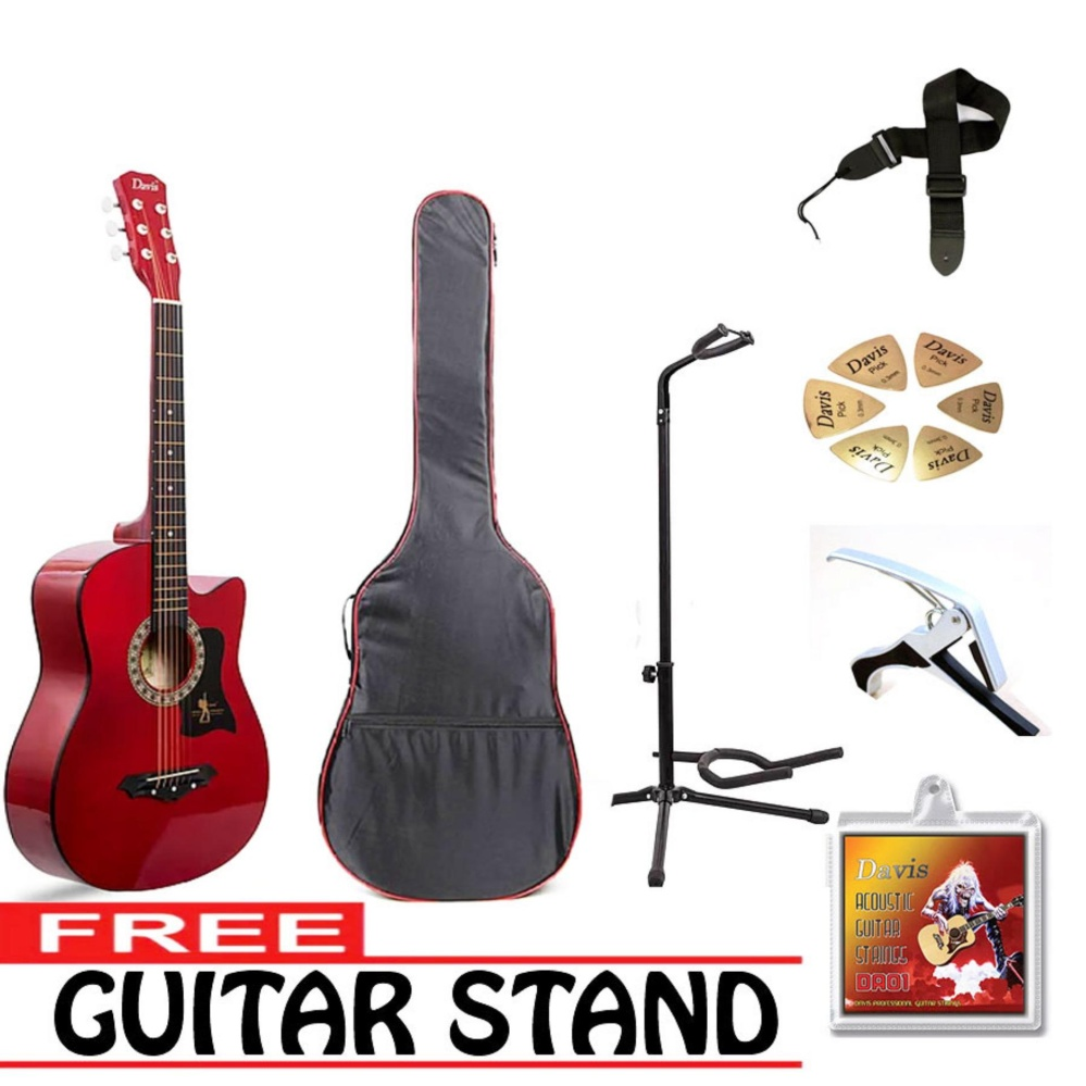 Philippines Davis Acoustic Guitar Starter Package Red With Free