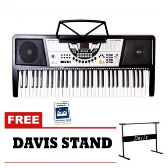 Davis D-118 Digital Electronic Keyboard (Black) & LearningManual with Free Stand