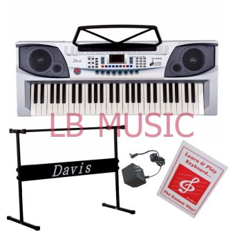 Davis D-203 54-Keys Digital Electronic Keyboard Piano Organ w/stand Package (Gray)