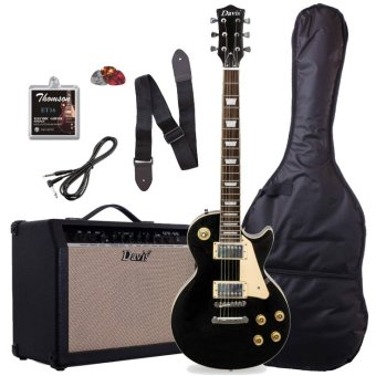 Davis Les Paul Set Neck with 40 watts amp Package Electric Guitar(Black)