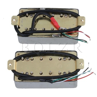 Electric Guitar Bridge & Neck Humbucker Pickup Set of 2 Silver- intl - 2