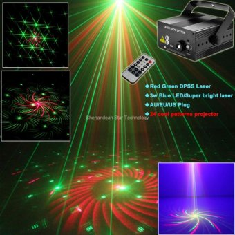 ESHINY B178 Mini Blue Led Red Green Laser 24 Patterns Projector DJ Equipment Club Party Disco Xmas Bar Holiday Dance Party Stage lighting Light Show - intl