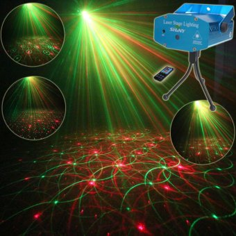 ESHINY R4 Mini Red Green Remote Moving 4 Patterns Laser Projector Club Bar Coffee Shop Dance Disco Home Party Xmas DJ Stage lighting Effect Light Show + Tripod - intl