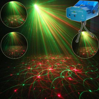 ESHINY Y4 Mini Red Green Laser 4 Patterns projector Club Bar Dance Disco Coffee Shop Home Party Xmas DJ Stage Effect Lighting Light Show + Tripod - intl