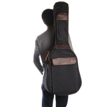 Generic Black Folk Acoustic Guitar Gig Bag Case PU PaddedWaterproof for 39 40 41 inch