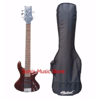 Global Electric 5 String Bass Guitar (RED) with Bag
