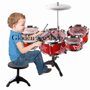 Gloden age Jazz Drum+Chair Kids Early Education Toy PercussionInstrument Gift (Red)