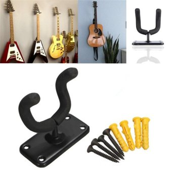 Guitar Hanger Hook Holder Wall Mount Stand Rack Bracket DisplayFits Most Guitar Bass Accessories Easy To Install+Screws - intl