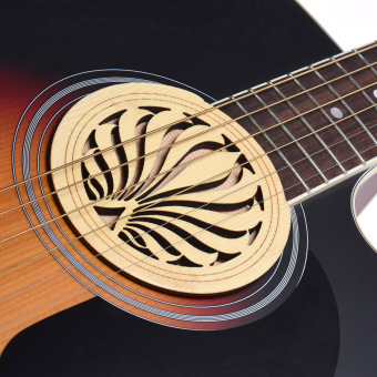 Guitar Wooden Soundhole Sound Hole Cover Block Feedback Buffer Spruce Wood for EQ Acoustic Folk Guitars ^ - intl