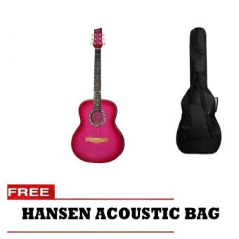 Hansen Acoustic Guitar with Free Bag (Pink)