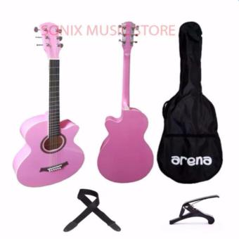 Arena Acoustic Guitar (Pink) Free Bag, Capo and Strap Price Philippines