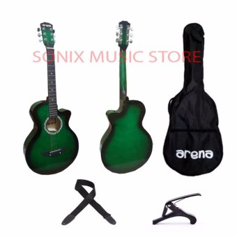 Arena Acoustic Guitar (Green) Free Bag, Capo and Strap Price Philippines
