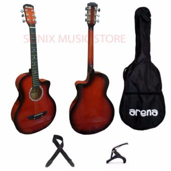 Arena Acoustic Guitar (Red) with FREE Strap, Capo, Bag Price Philippines