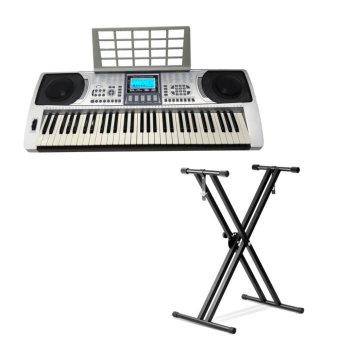 Harga Global GL-326 LCD Electronic Keyboard With Stand (Silver)