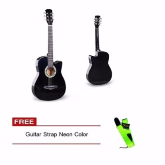 Arena 38 Inch Acoustic Guitar For Beginner Black Color with Free Guitar Strap Neon Color Price Philippines