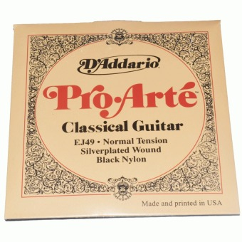 Harga D' Addario Pro Arte Classical Guitar String EJ49 Normal Tension Silver Plated Wound Black Nylon