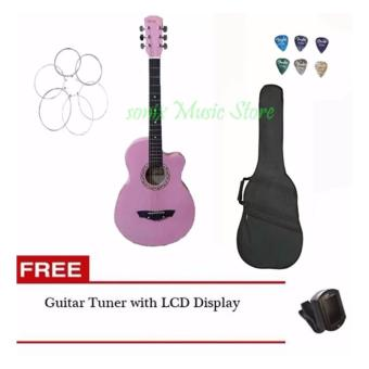 Arena Acoustic Guitar (Pink) with Guitar Case, LCD tuner, 6pcs pick, 1 set of string(Pink) Price Philippines