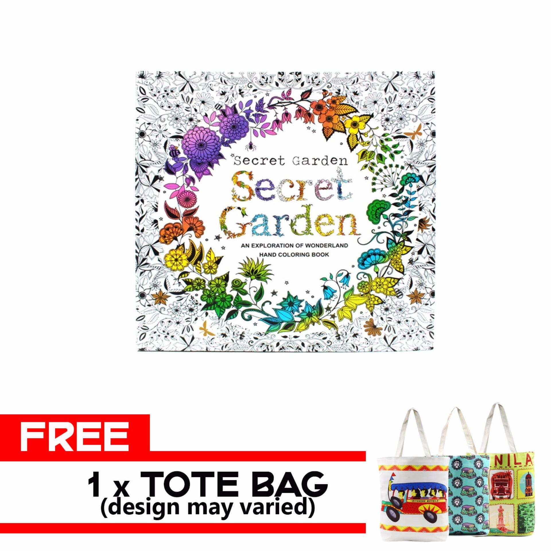 Inspire Secret Garden Anti Stress Coloring Book With FREE Tote Bag